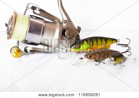 Spinning Rod And Reel With Wobbler Lure