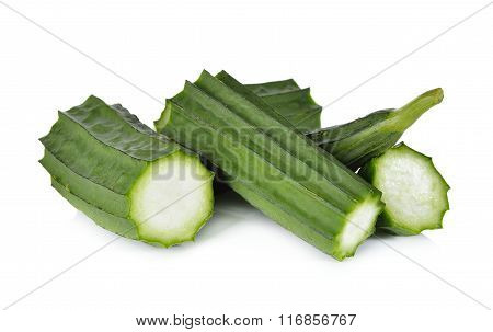 Portion Cut Fresh Angled Luffa On White Background