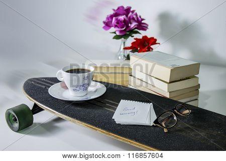 Modern Reading Still Life Over White Background