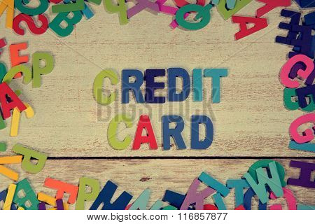 Credit Card Word Block Concept Photo On Plank Wood