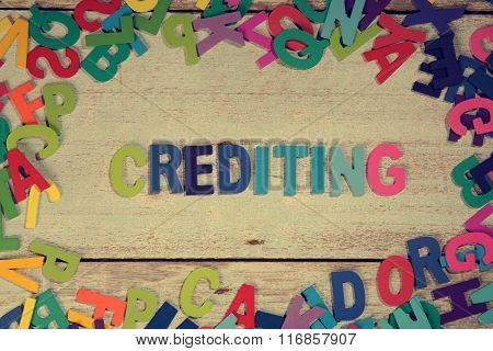 Crediting Word Block Concept Photo On Plank Wood