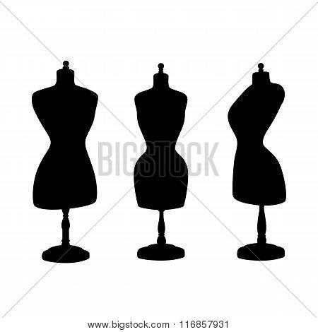 Vintage mannequins. Vector silhouettes.