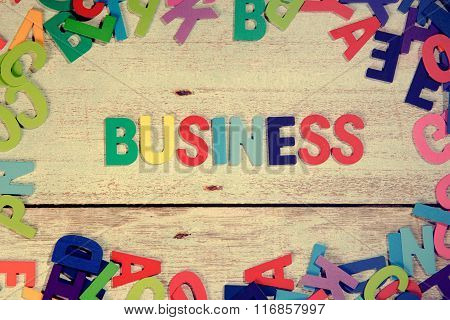 Business Word Block Concept Photo On Plank Wood