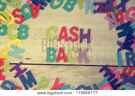 Cash Back Word Block Concept Photo On Plank Wood