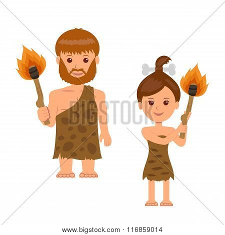 Caveman. A man and a woman holding a torch in his hand. Isolated characters prehistoric people with