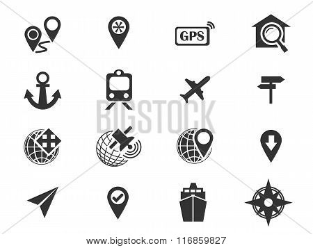 Navigation and transport icons set