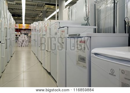 Moscow Russia - February 02. 2016. refrigerators in Eldorado. It is large chain stores selling electronics