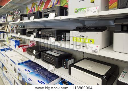 Moscow Russia - February 02. 2016. printer in Eldorado is large chain stores selling electronics