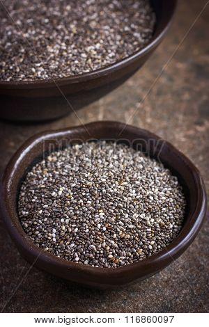 Organic Chia Seeds In Bowl