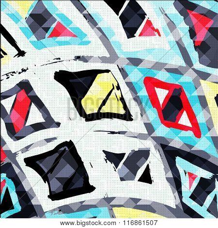 Graffiti Abstract Geometric Pattern On A Gray Background