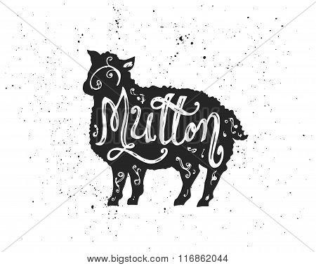 Mutton Lettering In Silhouette.