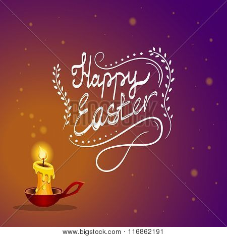 Happy Easter Card With Burning Candle