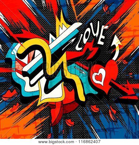 Graffiti Colored Geometric Objects On A Black Background