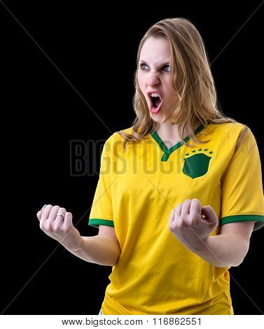 Brazilian female fan celebrating on black background