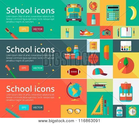 Vector flat design concepts of education. Horizontal banners with student items. Back to school set