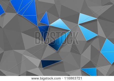 Blue Polygon Pattern And Black Line On Grey Background For Background Or Web Banner Design.