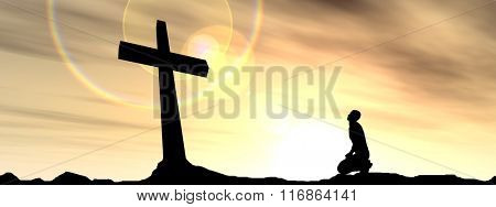 Concept conceptual black cross or religion symbol man silhouette in rocks over a sunset sky with sunlight clouds background banner