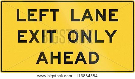 United States Mutcd Road Sign - Left Lane Exit Only Ahead