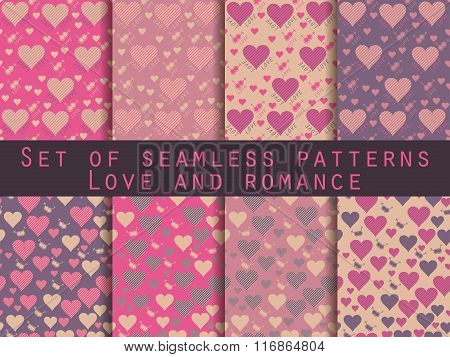 I Love You. Set Of Seamless Patterns With Hearts. Festive Pattern For Wrapping Paper, Wallpaper, Til