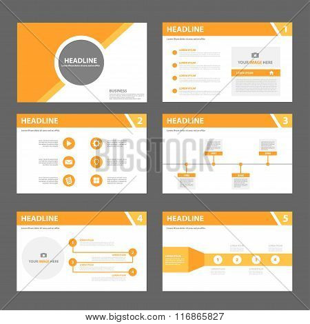 Orange presentation templates Infographic elements flat design set