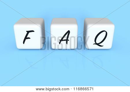 FAQ dices, sky blue background