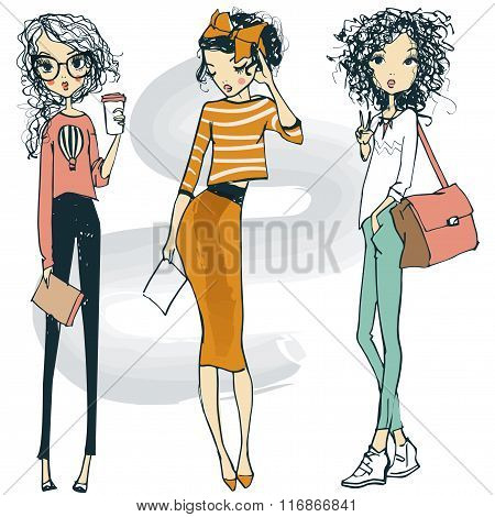cute fashion sketched girls
