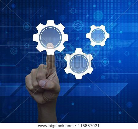 Man Hand Pressing Gear Icon With Copy Space On Digital World Map Technology Style, Elements Of This