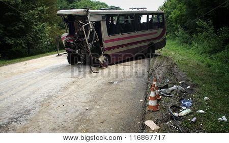 KOVEL UKRAINE - JULY 11: Scene of bus crash where nine Ukrainian Belarusian and Bulgarian Tourists were died and as many as 30 others were injured July 11 2013 just outside Kovel Ukraine.