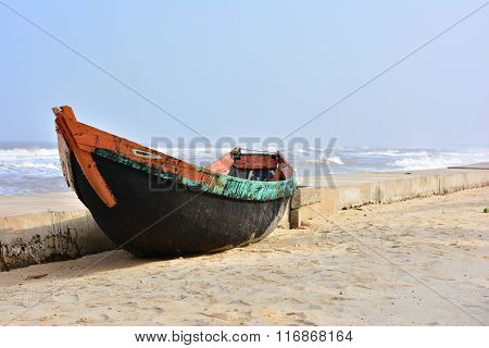 a lonely fishing boat