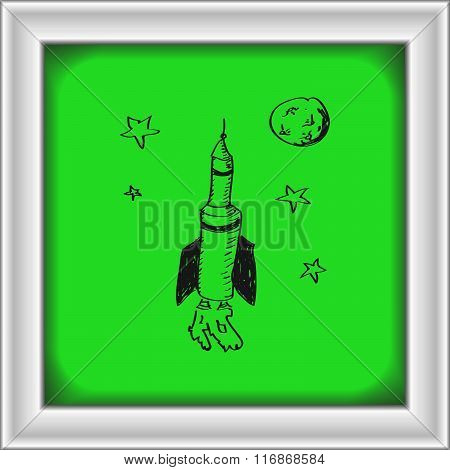 Simple Doodle Of A Space Rocket