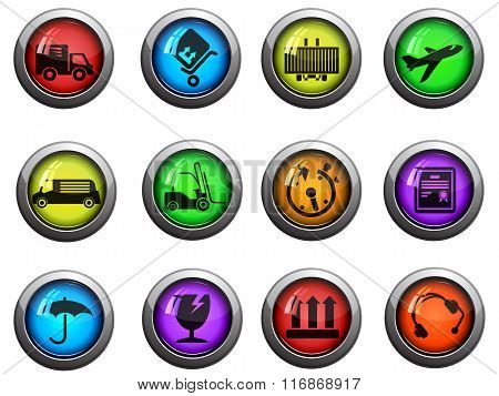 Cargo shipping icons set