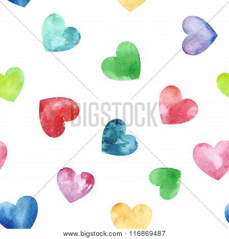 Seamless Pattern With Fanny Watercolor Hearts.