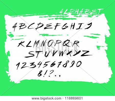 Handwritten English Alphabet. Latin Alphabet Very Cute Looking. Black Letters.