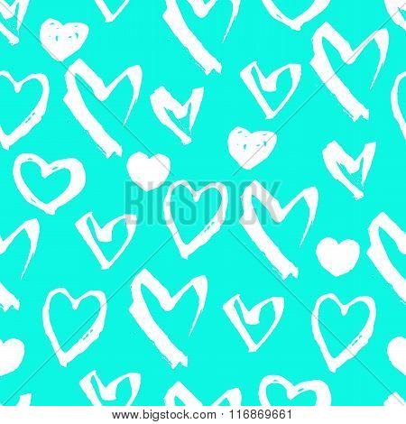 Vector Seamless Pattern. White Hand Drawn Heart Symbols On A Blue Background. Pattern For Valentine'