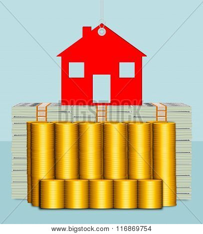 A conceptual illustration of hard assets or properties.