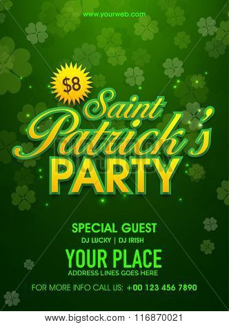 Beautiful four leaves clovers decorated green pamphlet, banner or flyer design for St. Patrick's Day Party celebration.