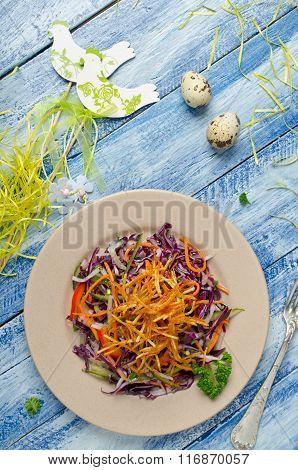 Vegetable Salad With Crispy Potatoes