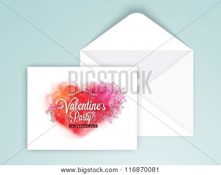 Glossy greeting card design with envelope for Happy Valentine's Day celebration.