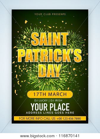 Beautiful fireworks decorated Pamphlet, Banner or Flyer design for St. Patrick's Day Party celebration.
