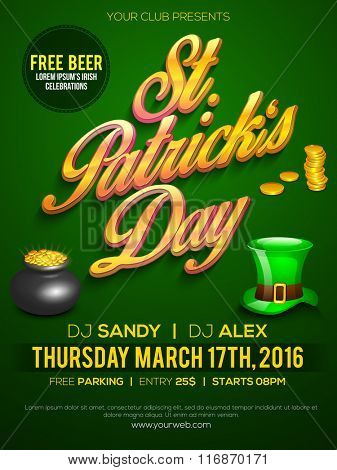 Creative Pamphlet, Banner or Flyer design for St. Patrick's Day Party celebration.