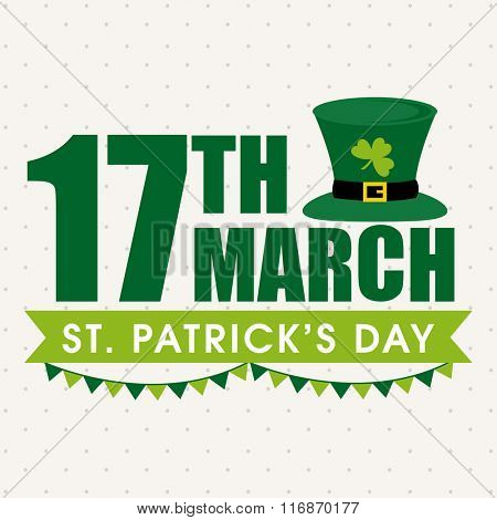 Elegant greeting card design with stylish text 17th March and Leprechaun Hat for Happy St. Patrick's Day celebration.
