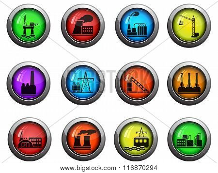 Factory and Industry icons set