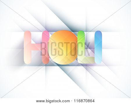 Indian festival of colors celebration with stylish text Holi on abstract background.