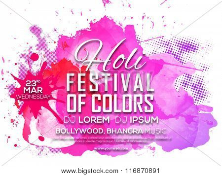 Indian Festival of Colours, Happy Holi celebration Invitation Card design with pink splash.