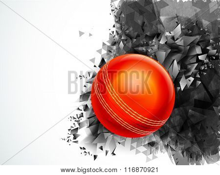 Glossy Red Ball on creative abstract background for Cricket Sports concept.