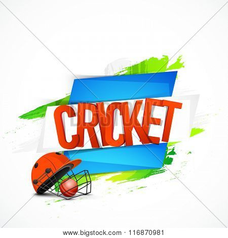 Creative glossy text Cricket with Batsman Helmet and Ball for Sports concept.