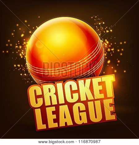 Creative glossy Ball with stylish text Cricket League on shiny brown background.