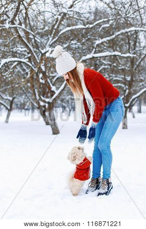 Cute Woman In A White Knitted Sweater Walking A Pekingese Puppy On A Winter Day On The Background Of