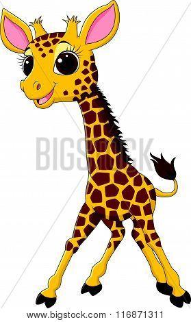 Cartoon funny giraffe mascot isolated on white background