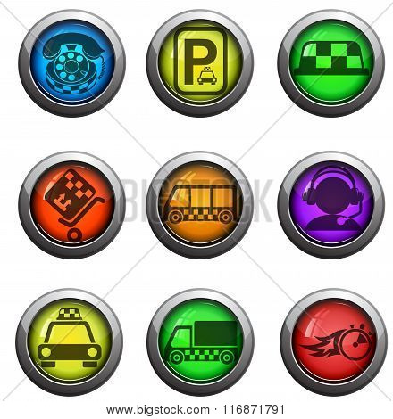 Taxi services icons set
